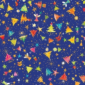 Holiday Minis Christmas Trees Angels Gold Metallic Blue Cotton Fabric