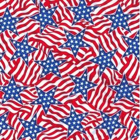 Heart of America Patriotic Glitter Stars and Stripes Cotton Fabric