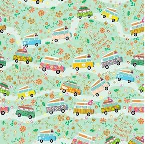 Road Trip Flower Power Hippie Vans Travel Green Cotton Fabric