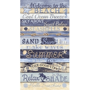 Welcome to the Beach Summer House Driftwood 24x44 Cotton Fabric Panel