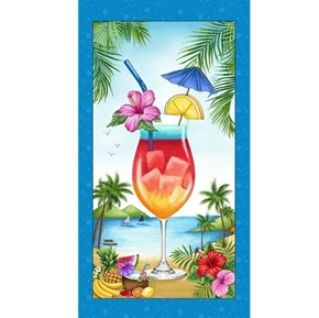 Greetings From... Tropical Cocktail Island Drink 24x44 Fabric Panel