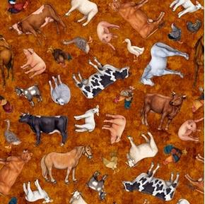 Sunrise Farms Farm Animal Toss Pig Sheep Goat Copper Cotton Fabric