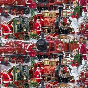 Santa Express Christmas Holiday Trains with Santa Cotton Fabric