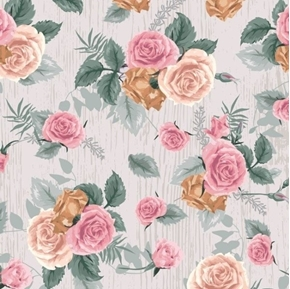 Floral Collection Antique Rose Vintage Roses Grey Cotton Fabric