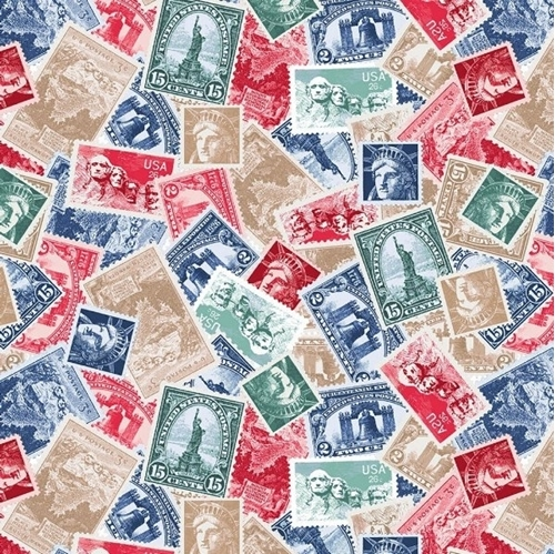 We The People Patriotic Stamps Postage Stamp Cotton Fabric