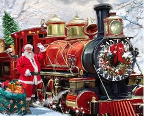 Santa Express Christmas Holiday Train with Santa Digital Fabric Panel