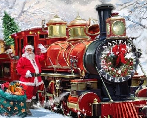 Santa Express Christmas Holiday Train with Santa Digital Fabric Panel