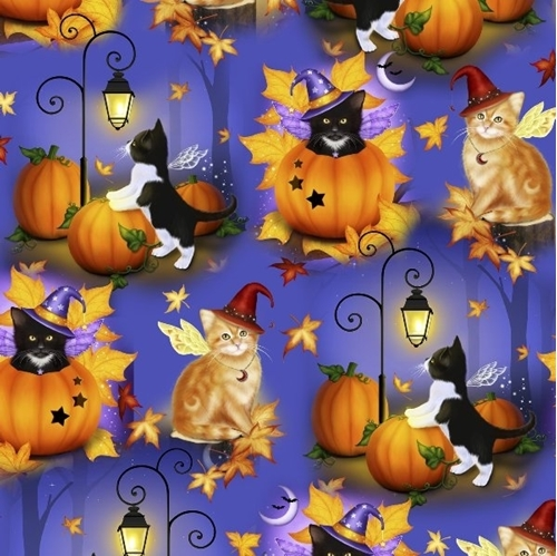 Halloween Cat Fairies Cats in Costumes and Pumpkins Cotton Fabric