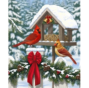 Christmas Feast Red Cardinals on Bird Feeder Digital Fabric Panel