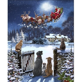 Watching Santas Arrival Christmas Dogs Santa Sleigh Large Fabric Panel