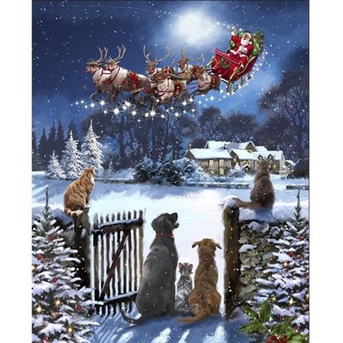 Watching Santas Arrival Christmas Dogs Santa Sleigh Large Fabric Panel