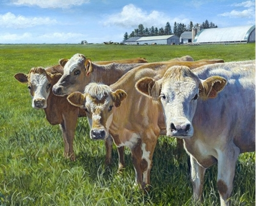 Udder Curiosity Dairy Cows Grazing Farm Digital Cotton Fabric Panel
