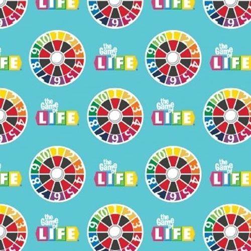 Hasbro The Game of Life Classic Board Game Spinners Teal Cotton Fabric