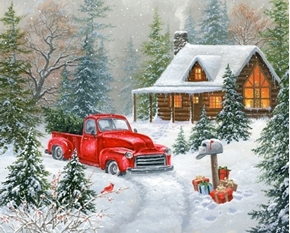 Christmas Tree Cabin Red Truck Holiday Snow Digital Cotton Fabric