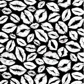 Lips and Kisses Glow in the Dark White on Black Lip Kiss Cotton Fabric