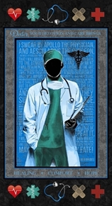 Medical Doctor Healing Comfort Hope 24x44 Cotton Fabric Panel
