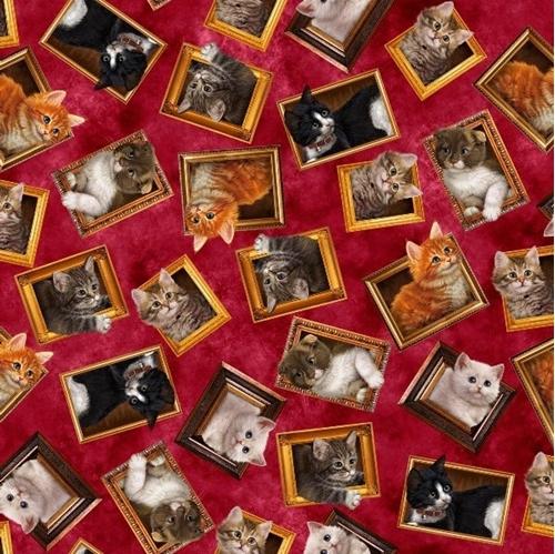 Literary Kitties Framed Kitten Cat Portraits Brick Red Cotton Fabric