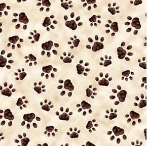 Literary Kitties Paw Print Cat Prints Cream Cotton Fabric