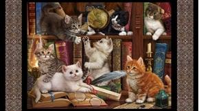 Literary Kitties Kittens Books Library 24x44 Cat Cotton Fabric Panel