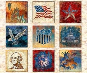 Liberty Glory Freedom Patriotic Blocks Cream Large Cotton Fabric Panel
