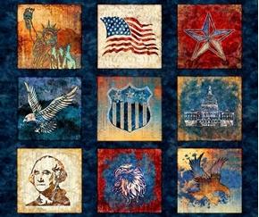 Liberty Glory Freedom Patriotic Blocks Blue Large Cotton Fabric Panel