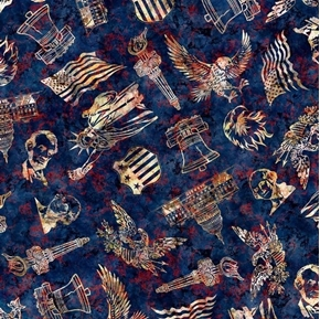Liberty Glory Freedom Patriotic Toss Eagles Flags Blue Cotton Fabric
