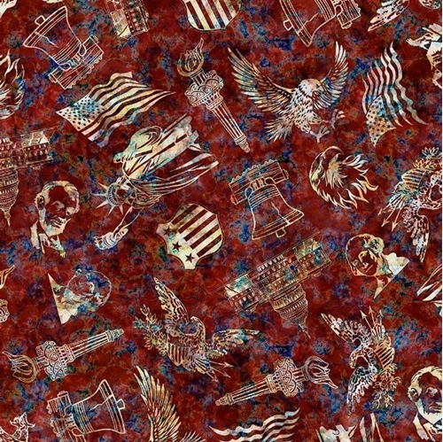 Liberty Glory Freedom Patriotic Toss Eagles Flags Red Cotton Fabric