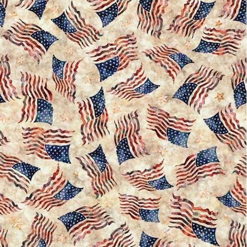 Liberty Glory Freedom Flag Toss Patriotic Flags Cream Cotton Fabric