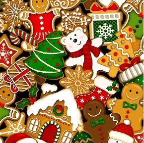 Noel Stacked Cookies Christmas Decorated Cookie Digital Cotton Fabric