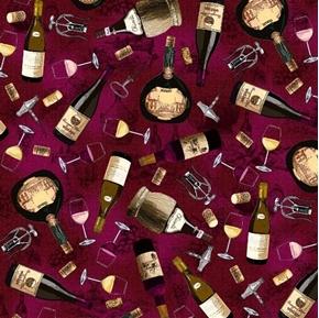 Tossed Wine Bottles Chianti Corkscrews Corks Glasses Red Cotton Fabric