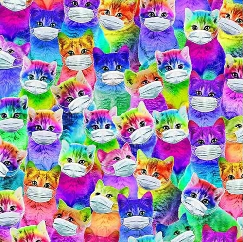 Bright Cats with Masks Covid Masked Kittens Colorful Cotton Fabric