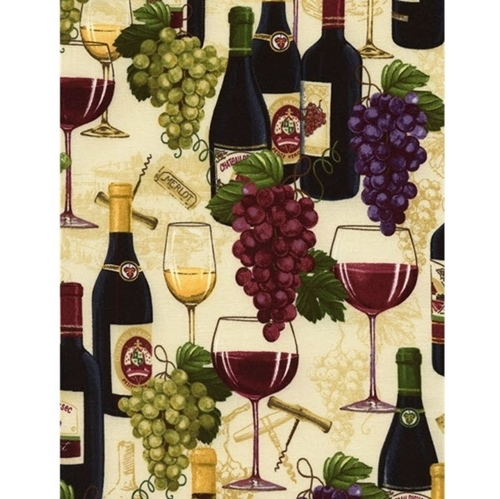 Wine Bottle and Grapes Red White Wine Glasses Corkscrews Cotton Fabric