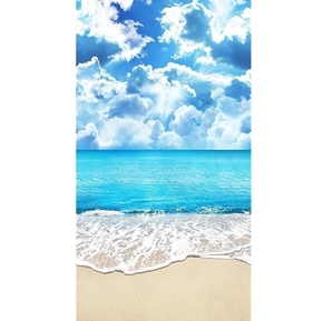 Sunny Sandy Beach Day Ocean Surf and Clouds 24x44 Cotton Fabric Panel