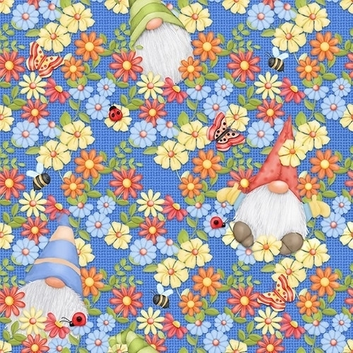 Gnome is Where Your Garden Grows Peeking Gnomes Blue Cotton Fabric