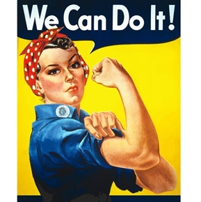 Freedom Fighter Rosie the Riveter Poster We Can Do It Fabric Panel