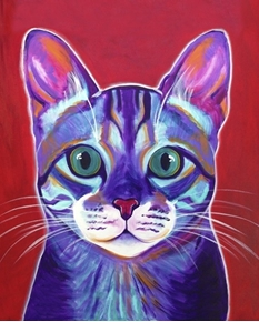 Cat Abstract Portrait Digitally Printed Large Cotton Fabric Panel