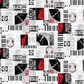 Faded Music Collage Vinyl Album Cassette Tape Headphones Cotton Fabric