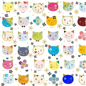 Kitty Cats Whimsical Cats Cat Heads and Flowers White Cotton Fabric