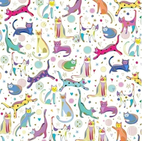 Kitty Cats Whimsical Cats Colorful Cat Kitten White Cotton Fabric