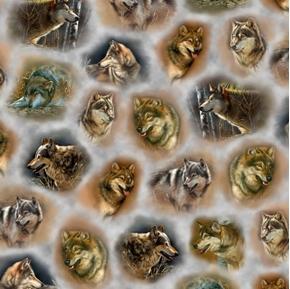 Majestic Wolves Wolf Vignettes Portraits Gray Digital Cotton Fabric