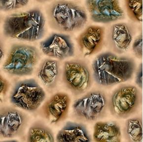 Majestic Wolves Wolf Vignettes Portraits Tan Digital Cotton Fabric
