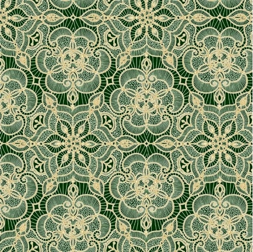 Amazing Lace Decorative Flower Lace Print Forest Green Cotton Fabric