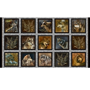 Majestic Wolves Framed Portraits Wolf Gray 24x44 Digital Fabric Panel