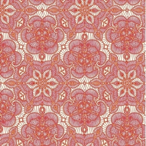 Amazing Lace Decorative Flower Lace Print Red on Cream Cotton Fabric