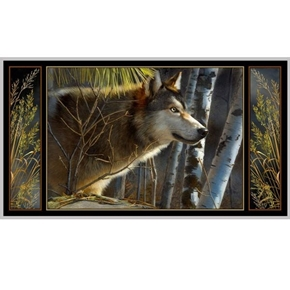 Majestic Wolves Wolf in the Wild 24x44 Digital Cotton Fabric Panel