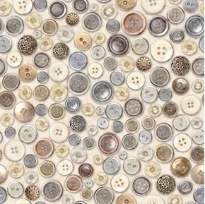 Cotton Couture Buttons Vintage Button Collection Cream Cotton Fabric