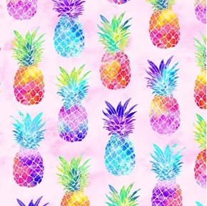 Tropical State of Mind Rainbow Pineapples on Pink Cotton Fabric