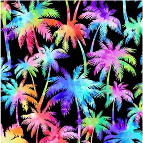 Palm Trees and Ocean Breeze Rainbow Palm Tree Cotton Fabric
