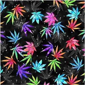 Cannabis Tie Dye Rainbow Colored Leaves Black Cotton Fabric