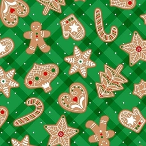 Vintage Holiday Gingerbread Treats Christmas Cookies Cotton Fabric
